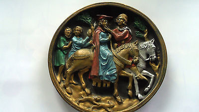 Missionary Auction Vintage Round Medieval Wall Plaque