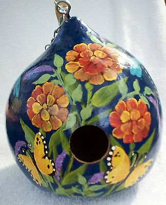 Zinnias, Butterflies. dragonfly Navy Hand Painted gourd Birdhouse Christmas Gift