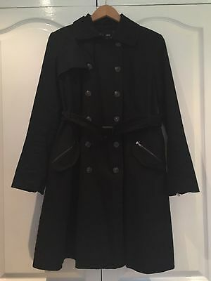 Asos Black Lined Maternity Trench Coat Size 12