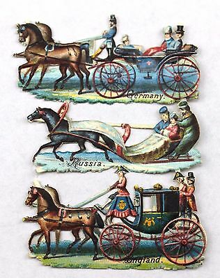 Antique Die Cut Embossed Horse & Carriage Sled Germany Russia England