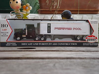 Model Power HO 17004 Die-cast truck and Trailer  Preferred Pool  HO Scale
