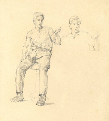 Early 20th Century Graphite Drawing - Study of a Seated Man