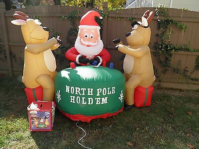 RARE Gemmy 7' Air Blown Inflatable North Pole Hold 'Em Santa Playing Poker Cards