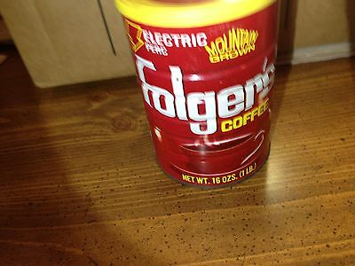 VINTAGE FOLGER'S Coffee Can 1lb  tin Electric Perc Mountain Grown yellow lid cup