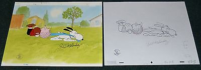 Peanuts Lucy Must Be Traded 2003 Original Signed Production Cel + Drawing Snoopy