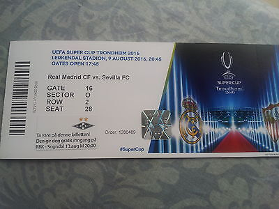 Ticket Uefa Supercup Real Madrid-Sevilla Fc Spain In Trondheim 09.08.2016