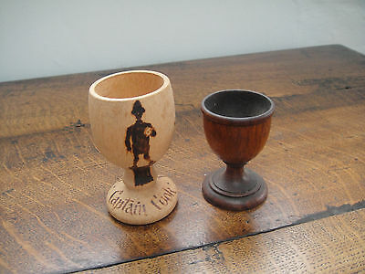 Vintage Turned Wooden Egg Cup + one other