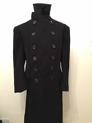 Vintage 1939 Gieves Bespoke Ww2 British Naval Officers Greatcoat Size 40 42