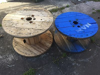 2x Cable Drums, Coffee Table Outdoor, Timber, Industrial Furniture.
