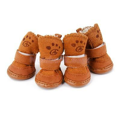 Warm Walking Cozy Pet Dog Puppy Shoes Warm Boots Clothes Apparel 2# - Tan