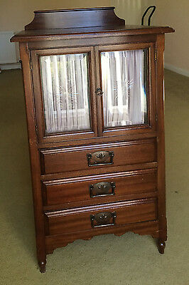 Beautiful Rosewood Display Cabinet with Curtains & 3 Drawers Very Good Condition