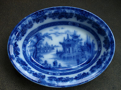 Vintage Flow Blue Doulton Burslem Madras Blue & White pattern 1890's