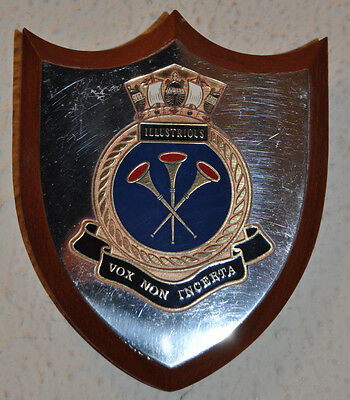 Small HMS Illustrious wall plaque shield crest naval RN aircraft carrier