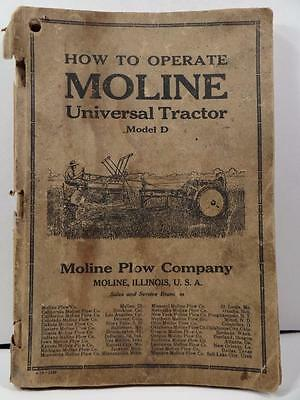How To Operate Moline Universal Tractor Model D Book 105 Pages 1918 & Postcard