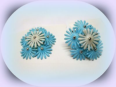 Vintage 1950's Soft Plastic & Silver Bead 3D Floral Clip-On Style Earrings