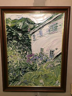 Oil Painting : Cottage In Boscastle , Cornwall # 2 Framed Piece