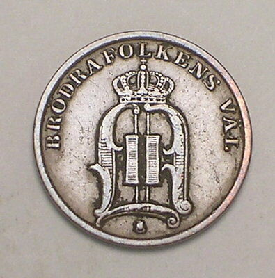 1893 Sweden Swedish One 1 Ore Crowned Monogram Coin F+