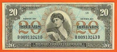 *SCARCE* SERIES 661 $20 BEAUTIFUL AU+ Military Payment Certificate!
