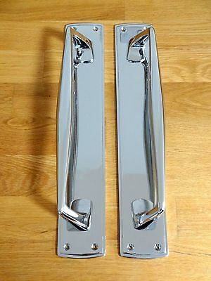 "Pair Of Large Chrome  15"" Art Deco Door Pull Handles Knobs Plates Finger Push"