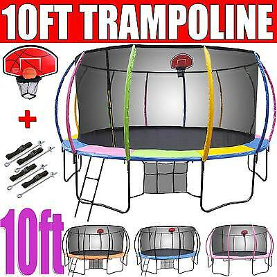 10ft NEW Round Trampoline FREE Basketball Set+Safety Net+Spring Pad Cover+Ladder