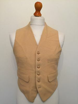 Mens Vintage Wool Country Waistcoat Size 36 38 Cream Colour