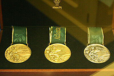 1996 Atlanta Olympic Medals Set:Gold/Silver/Bronze-Silk Ribbons & Display Stands