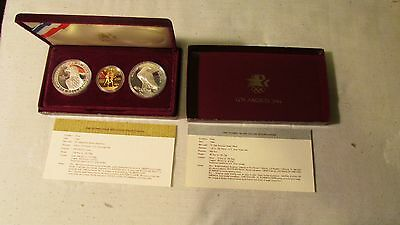Commemorative Us Olympic 3 Coin 1983 1984 2 Silver Dollars &  $10 Gold Proof Set