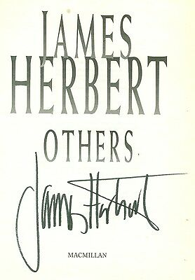 JAMES HERBERT: Author. Horror Books. Genuine signed title page from 'Others'.