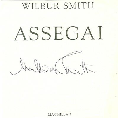 WILBUR SMITH: Author Historical Fiction Genuine signed title page from 'Assegai'