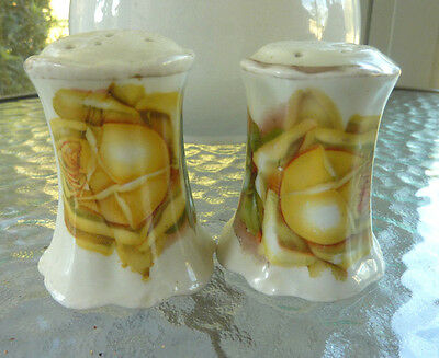 Estate ~ Antique Hand Painted Salt & Pepper Shakers MARKED YELLOW ROSE Gold Trim