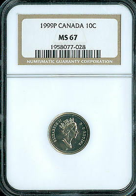 1999-P CANADA TEST ISSUE 10 CENTS NGC MS-67 PQ SPOTLESS  10k MINTAGE.