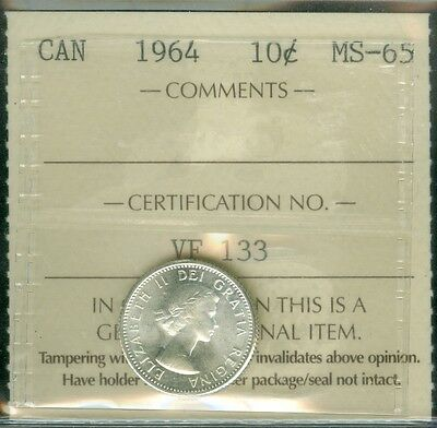 1964 Canada Ten Cents Iccs 2Nd Finest Grade Mint State Bu  .