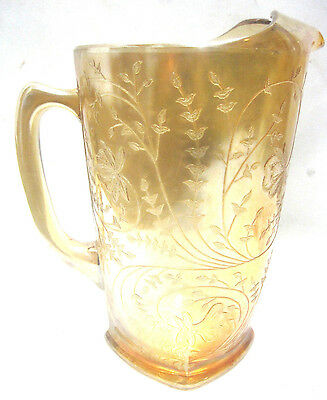 Vintage 1950's 64 oz Jeanette Louisa-Iridescent Carnival Glass Pitcher