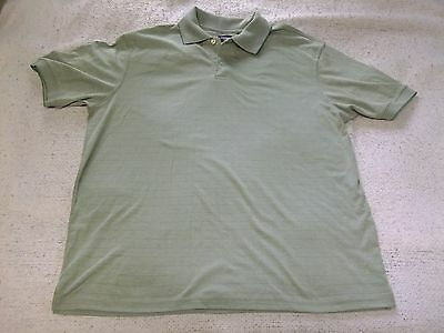 Mens Polo Shirt HAGGAR Green Large Short Sleeve Gently Used Collar Buttons