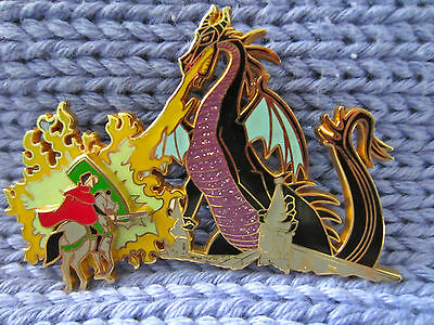 Disney Sleeping Beauty Castle Maleficent Dragon and Phillip pin LE
