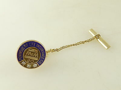 Vintage Pennsular Life Insurance 20 Year LGB 1/5 DR GP Tie Tack with Chain