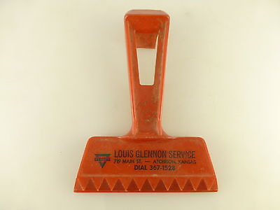 Vintage Conoco Gas Louis Glennon Service Atchison KS Advertising Window Scraper