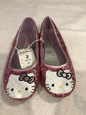 Girls Pink Glitter Hello Kitty Ballet Flats Size 2