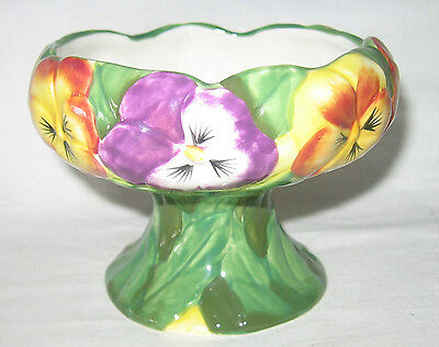 Pansy Decorated Footed Raised Comport Bon Bon Or Nut Dish Martinvale