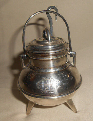 916 Silver Mustard or Honey Pot Vintge by Bacariza Including Mini Ladle