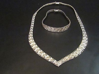 ITALY Sterling Silver V Necklace Riccio CHAIN & BRACELET SET Excellent condition