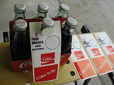 Vintage Coke Bottle 4- Hanger With 8 Decals  Coke Is It Advertising 1980's