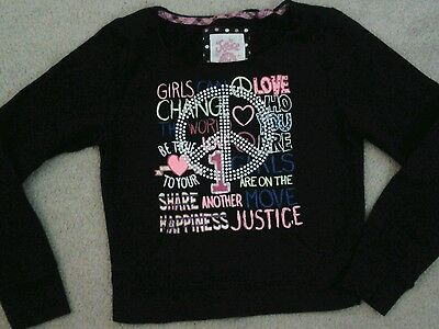 Girls Justice Long Sleeve Black Top-Size 7