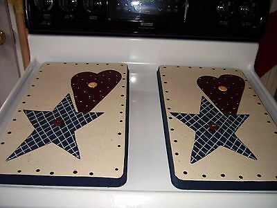 Americana Star and Heart Stove Burner Covers Set
