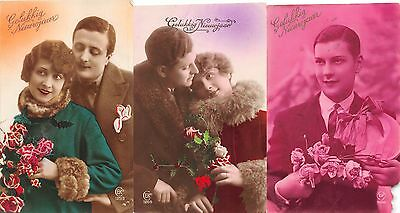 Lot of 3 Early 1900s Netherlands New Years Greetings Real Photo Postcards #56027