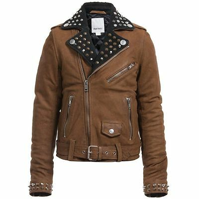 Diesel L-Ulisse Brown Studded Leather Jacket For Boys & Girls 8Yrs Rrp £399