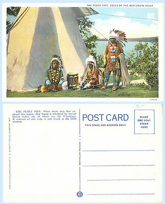 The Peace Pipe Winnebago Indians Wisconsin Dells Postcard Tepee