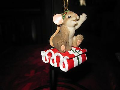 Charming Tails The Holidays are one sweet Ride Ornament mouse Christmas ribbon