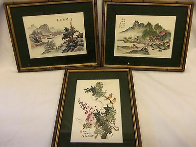 3 Asian Style Prints ...Matted & Framed...Signed...Scenery