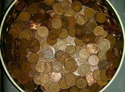 10 lbs/ pounds of canada copper pennies 1930's -1995 coins bullion